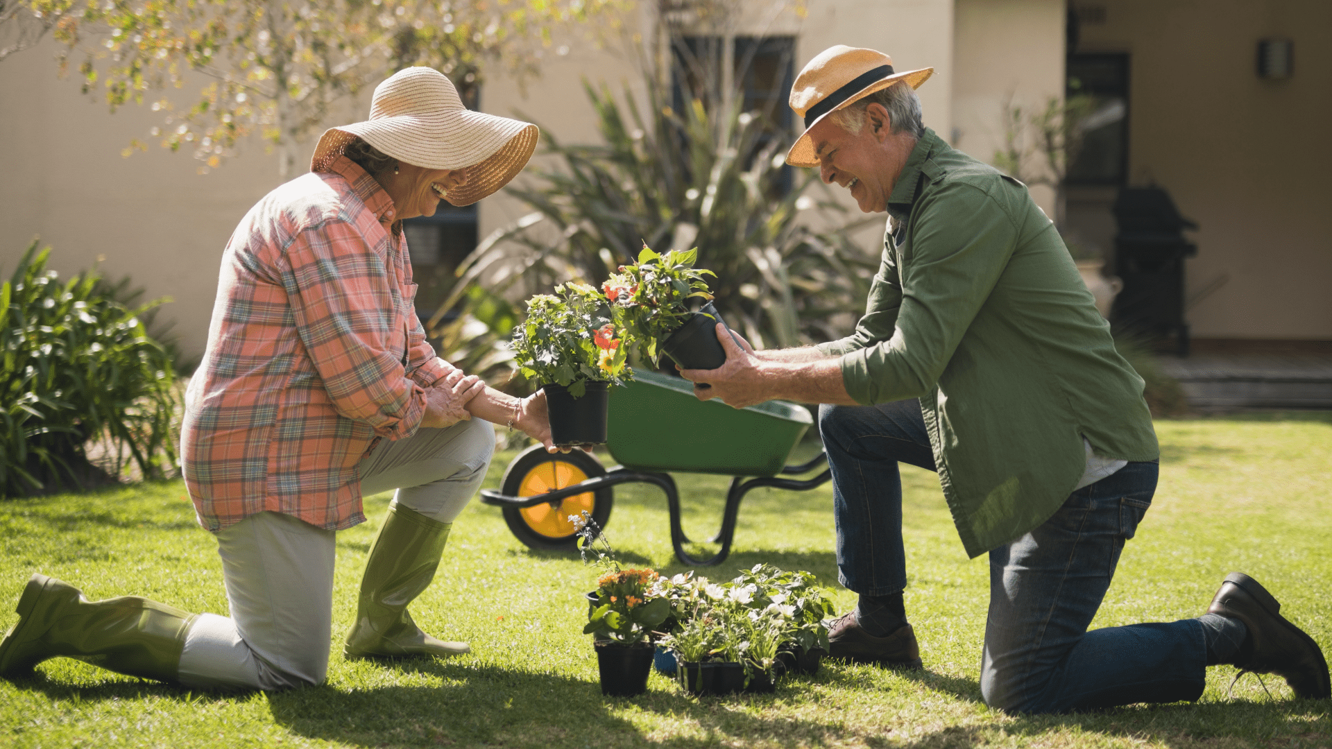 man and woman gardening, protected with final expense insurance