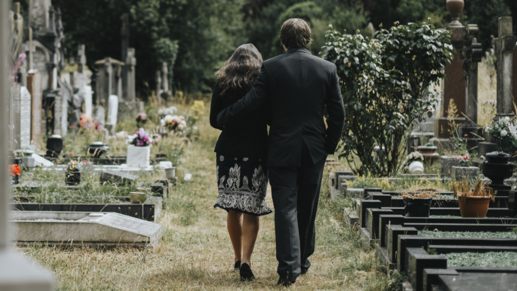 two people at funeral