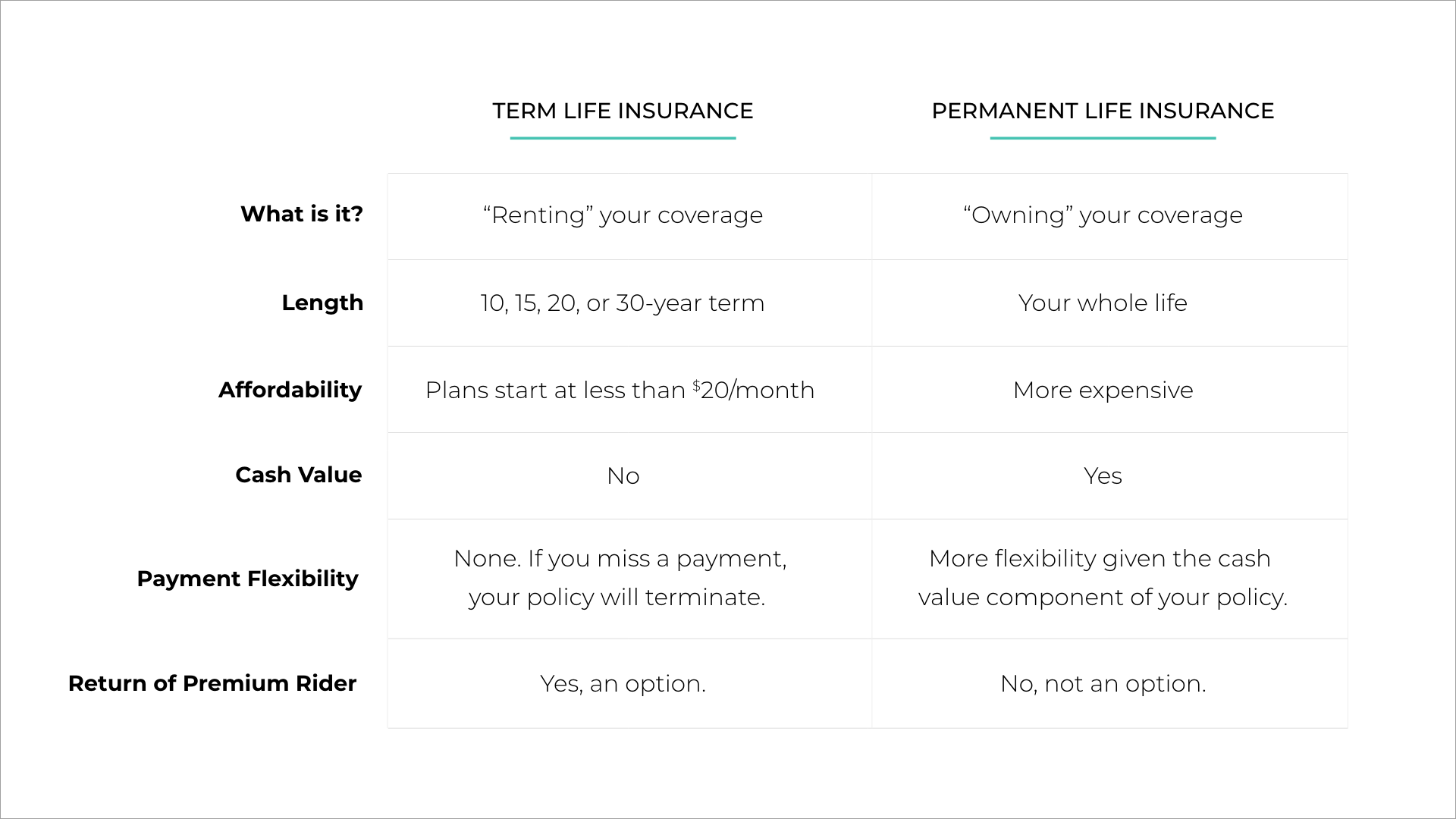 term vs. permanent life insurance comparison